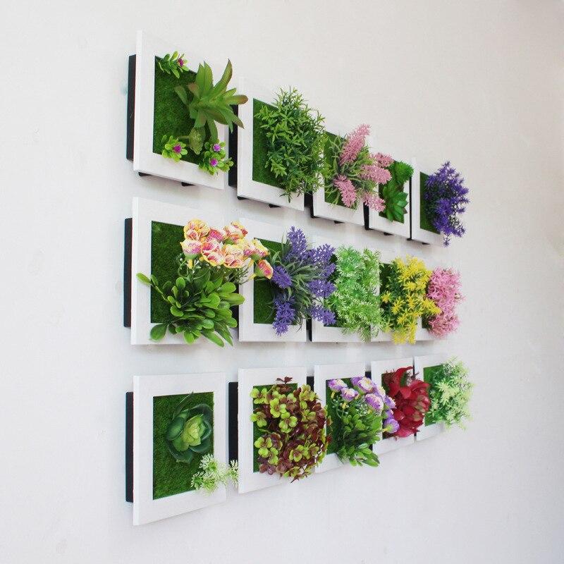 Creativo 3D plantas artificiales Home Wall Sticker decoraciones resina flor salón tienda ornamento accesorios envío gratis