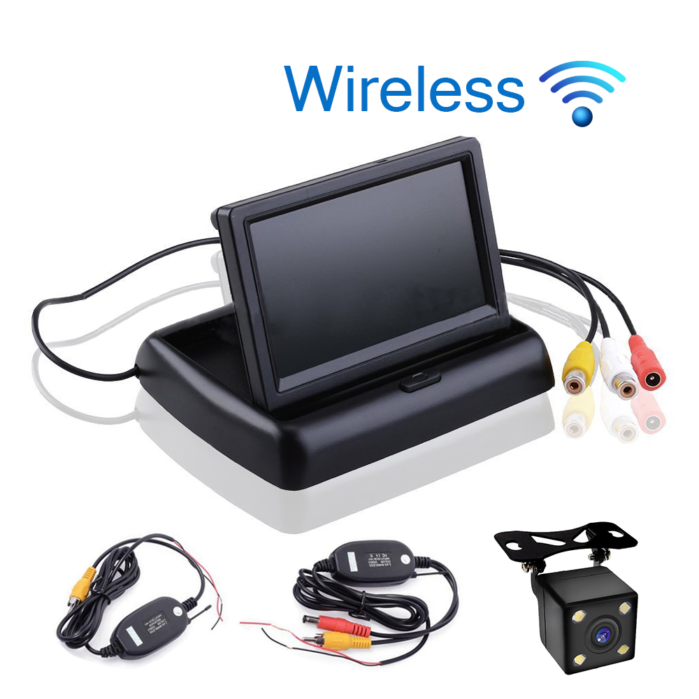 Car Styling Wireless 4.3 inch TFT LCD Screen Car Monitor Display for Rear View Reverse Backup Camera Car TV Display Wifi 3in1 diy for hyundai i25 i35 i45 wireless wifi bluetooth backup rear view reverse rearview camera camara & screen monitor