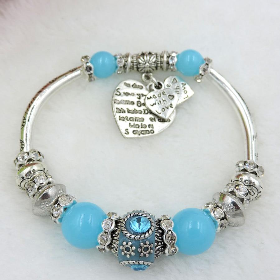 Elastic Gl Beads Charm Bracelets