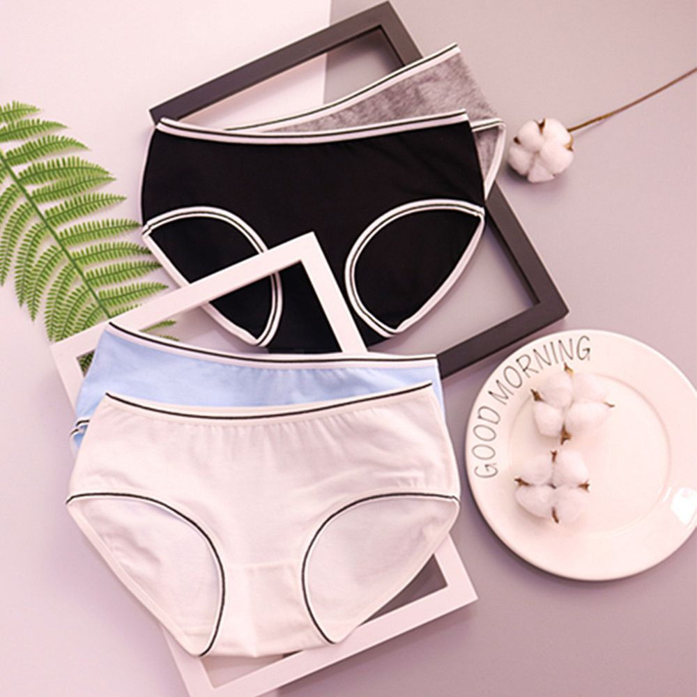 Sexy Cotton Crotch Solid Color Underwear Panties Women's Mid waist Briefs Soft Comfortable Lingerie Underwear Breathable