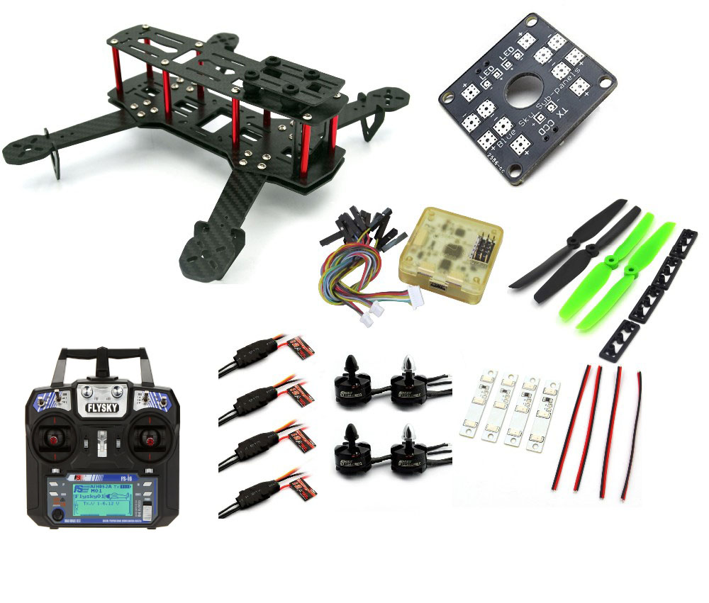 QAV250 1Motor 2A Esc CC3D Flight Control-A011 RC plane Carbon Fiber Mini C250 Frame Quadcopter rc plane 210 mm carbon fiber mini quadcopter frame f3 flight controller 2206 1900kv motor 4050 prop rc