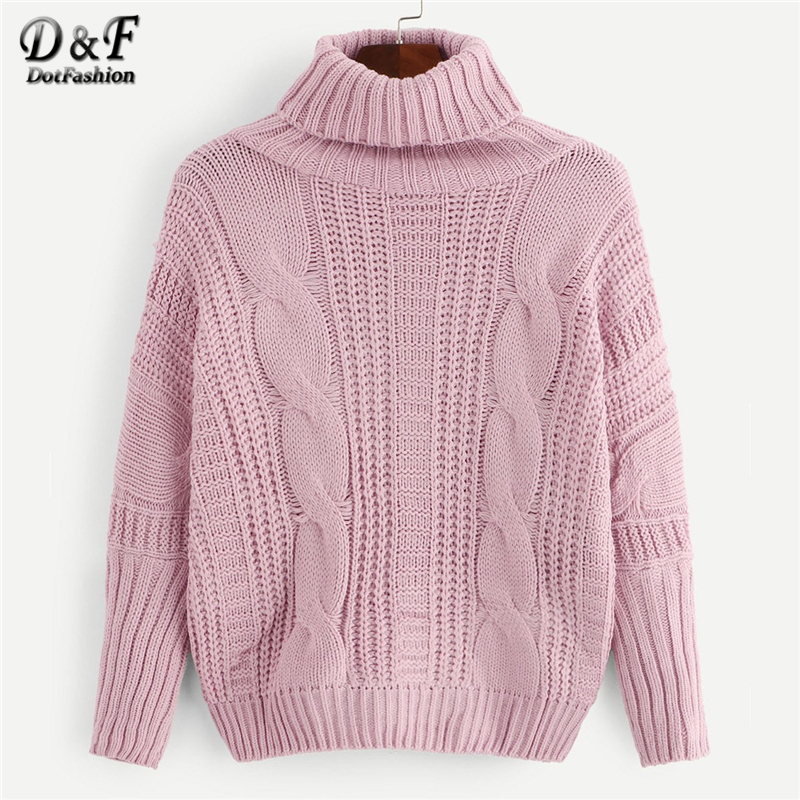 3cb6425c5d7d24 Dotfashion Pink Solid Cable Knit High-Neck Womens Sweaters 2019 Winter  Clothes Women Casual Autumn
