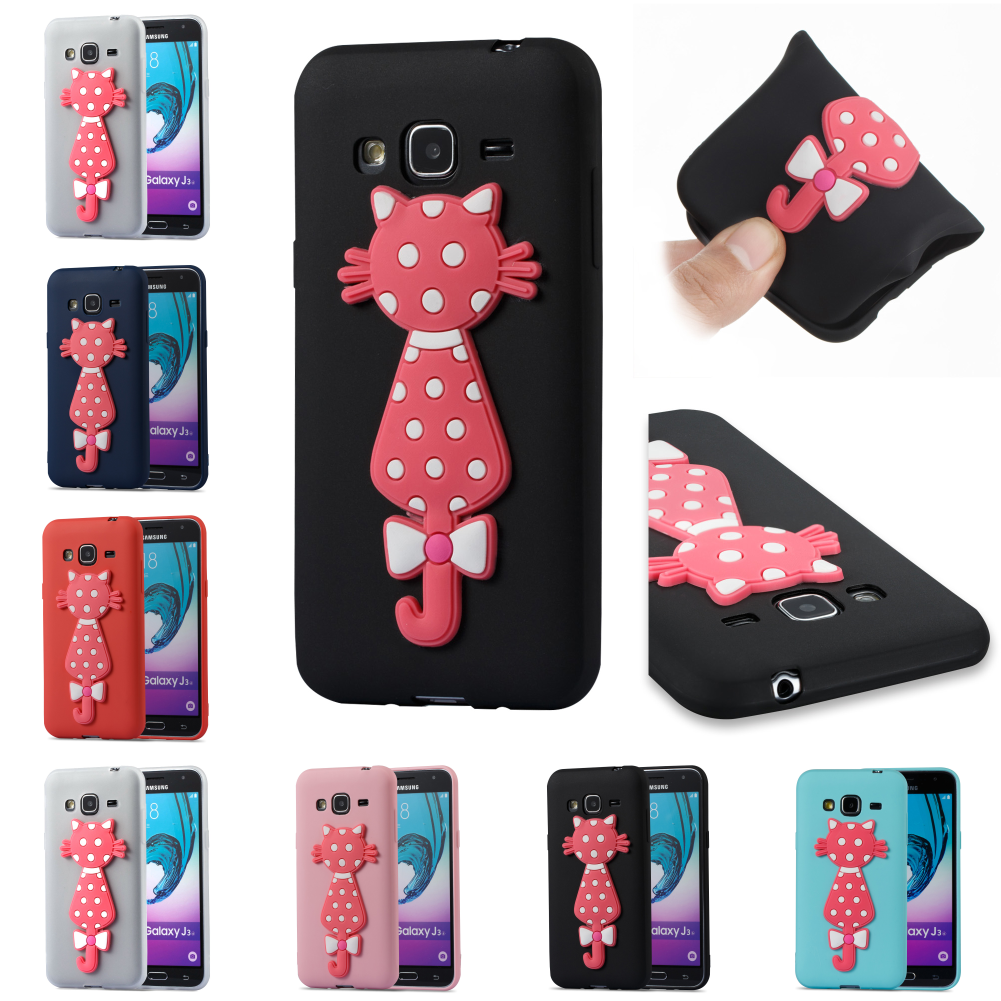 3D Cat TPU Cute Silicone Phone Case Cubierta Kryty Shell For Samsung Sumsung <font><b>Samsug</b></font> Galaxy <font><b>J3</b></font> <font><b>2016</b></font> j 310 image