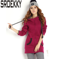 New 2015 Fashion Plus Size Slim Thick Fleece Sweatshirt Women Winter Outdoor Keep Warm Sport Hooded
