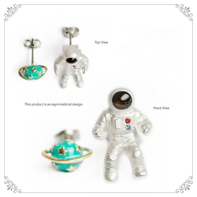 1 Stück Japan Frauen Silber Überzogene Exklusive Astronaut Planeten Ohrstecker Einzigartige Chic Ohrring Für Frauen Modeschmuck Für Geschenk In Den Spezifikationen VervollstäNdigen