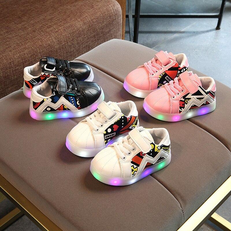 2018 Nieuwe gloeiende schoenen Meisjes LED-verlichting schoenen - Kinderschoenen - Foto 4