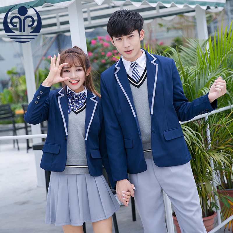 Newest Students School Uniforms Boys Girls Navy Sailor Clothes Japanese Sweater Jacket Student British Style Outfits D-0546