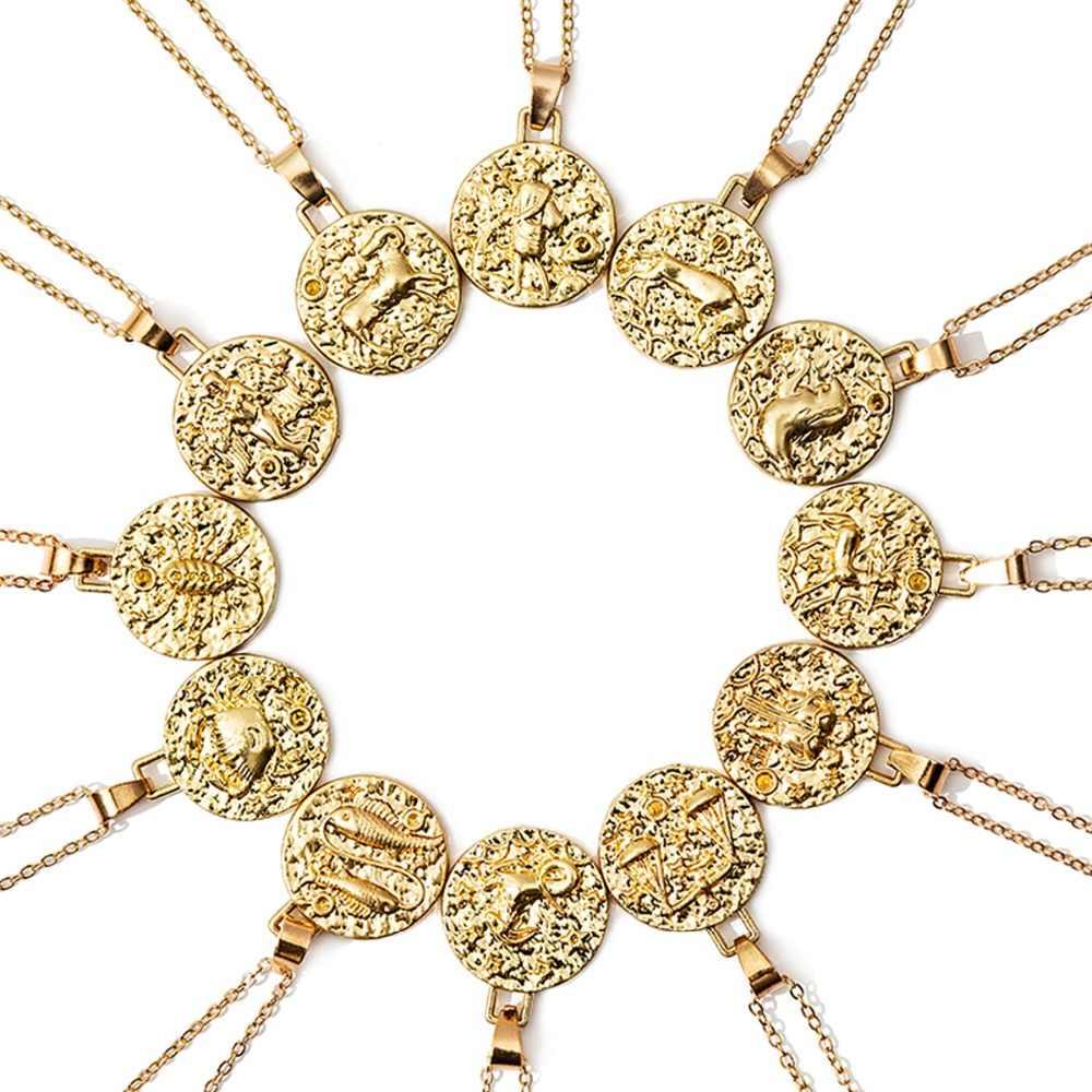 12 konstelacji biżuteria naszyjnik złoty Virgo Libra skorpion strzelec koziorożec Aquarius naszyjnik z zodiakiem koło wisiorek bijoux