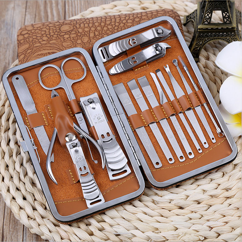 Professional 15 Pcs Manicure Set Stainless steel Nail Clipper Kit Nail Cuticle Clippers Pedicure Scissor Ear Pick Tweezers