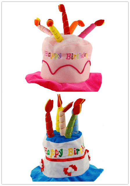 Creative Plush Soft Happy Birthday Cake Hat With Candles Cap Adult Kids Size Fancy Dress