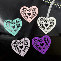European 50Pcs Heart Hollow Shape Glass Paper Hang Tag Wedding Craft Label Price Gift Card Packaging