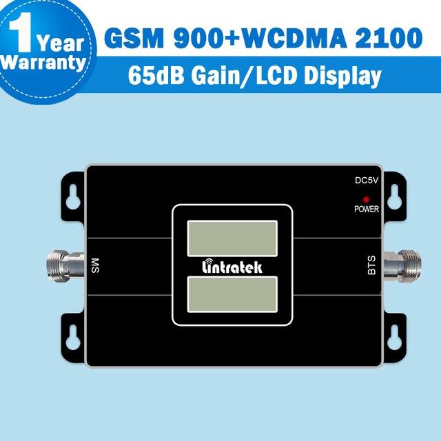 ¡ NUEVO!! lintratek 2 pantallas lcd 2g 3g celular amplificador 65db gsm 900 3g wcdma 2100 de doble banda celular repetidor de señal de refuerzo