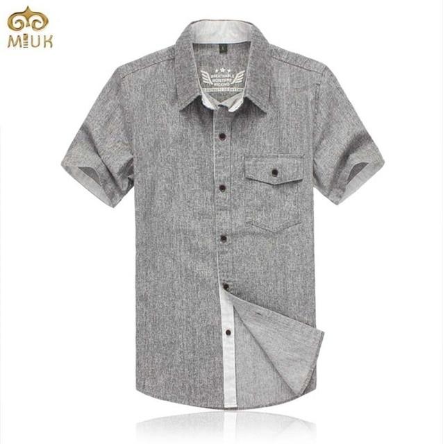 Linen Super Large Size Camisa Masculina 7XL 6XL Gray Brand Clothing Short Sleeve Shirt Imported-clothing Chemise Homme 2017 New