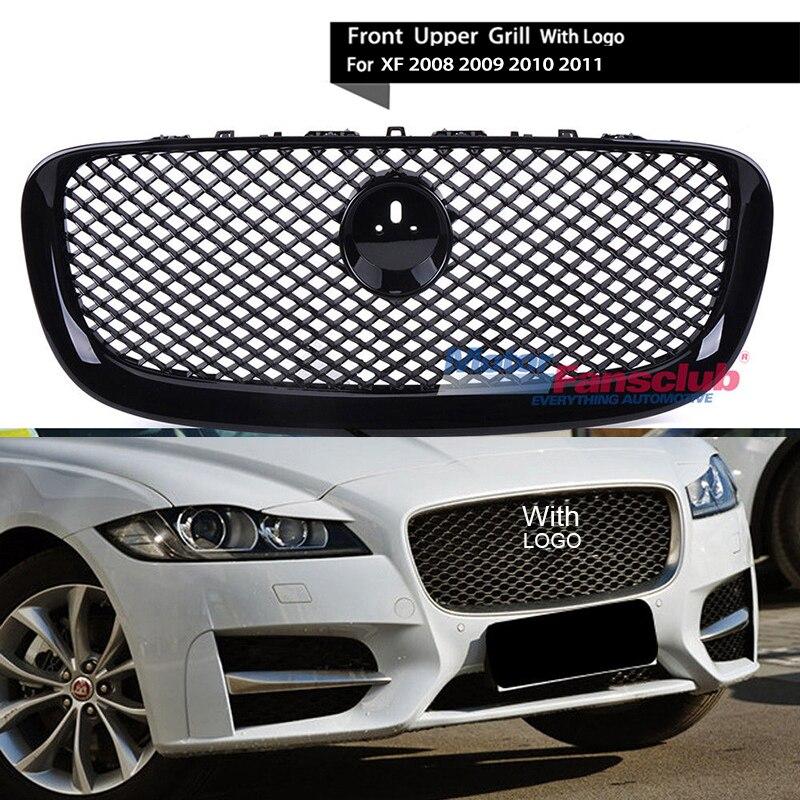 все цены на Sliver/Black Car Racing Grille For Jaguar XF 2008-2011 Grill With Emblem Logo Mesh ABS Chrome Radiator Front Bumper Lower Modify онлайн