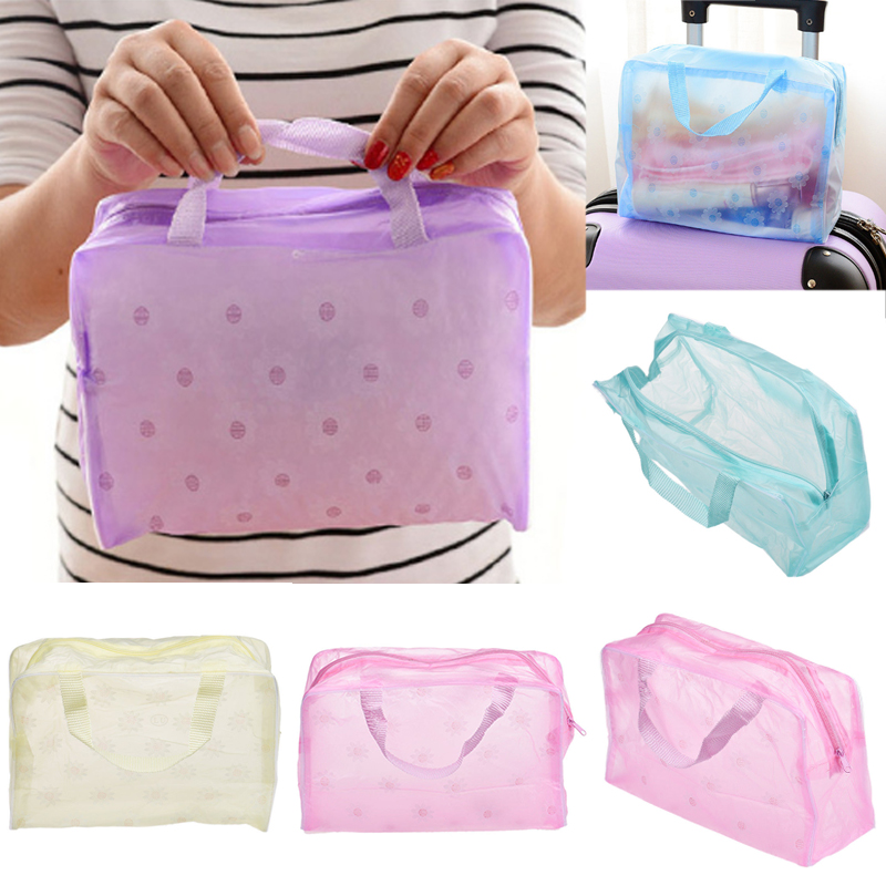 Sale 1PC Hot Women Cosmetic Bags Travel Waterproof Makeup Bag Transpatence Washcloth Solid Color PVC