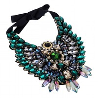 Unique 2015 Spring Popular Selling Luxury Crystal 5 Colors Necklace New Owl Design Ribbon Collar Statement