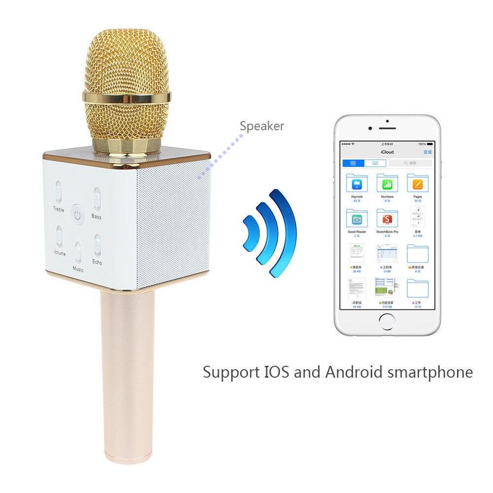 T-Gtexnik De Poche Célibataires Karaoké Mcrophone Sans Fil Bluetooth Microphone Pour Moblie Phpone Conférence Audio Microphone Haut-Parleur