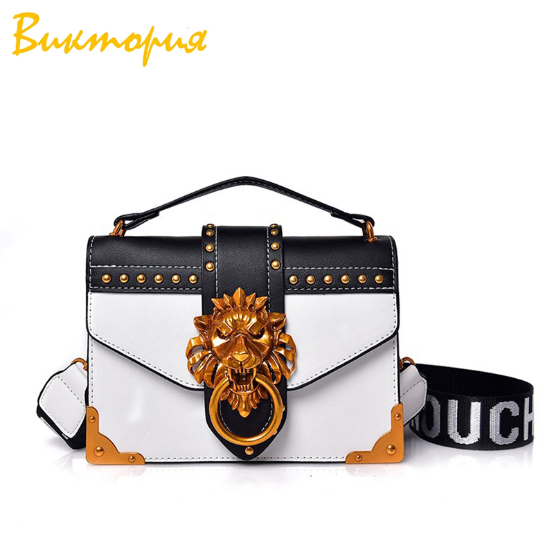 CHARAS brand personality Shoulder Bags womens fashion metal Lion head Accessories messenger bags high quality PU Flap