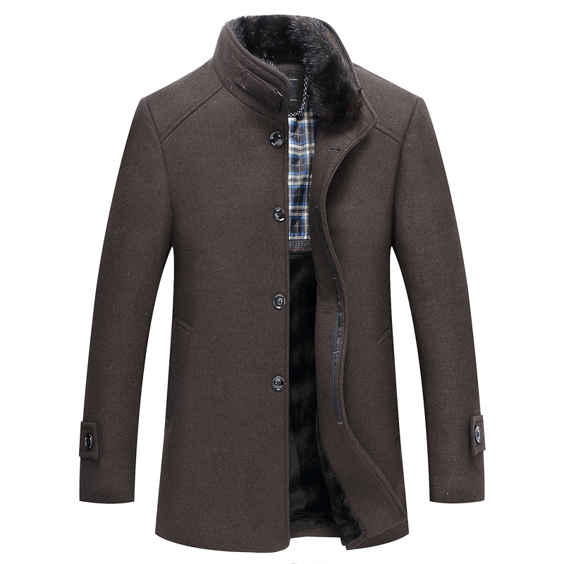 Winter Men's Wool Coat , High Quality Business MenFur Collar Warm Coat Coat , Solid Color Brand Casual Wool Jacket Male