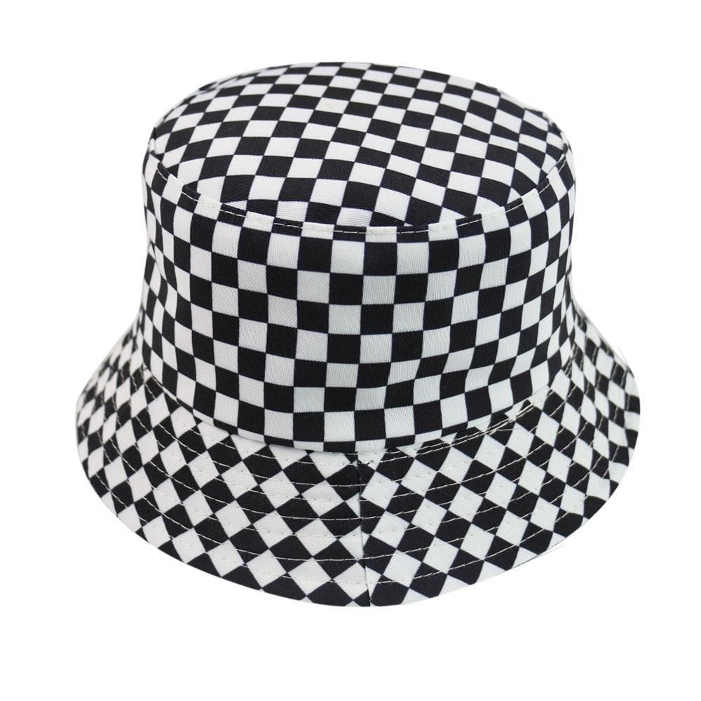 Bucket Hat Two-sided Harajuku Black White Lattice Fisherman Hat Ladies Leisure Sun Hat Male Street Tide Basin Cap Hip Hop Cap