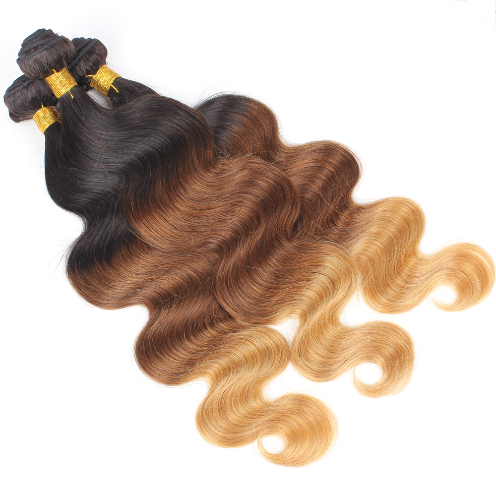 Body Wave Ombre Human Hair Extensions 3 Bundles T1B/33/27 Three Tone Remy Hair Weaves Machine Double Weft