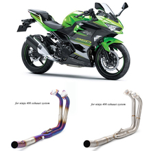 2017 2018 2019 Motorcycle Full Stainless Steel Connecting Pipe Silp on for ninja400 250 Modified Moto link Exhaust System