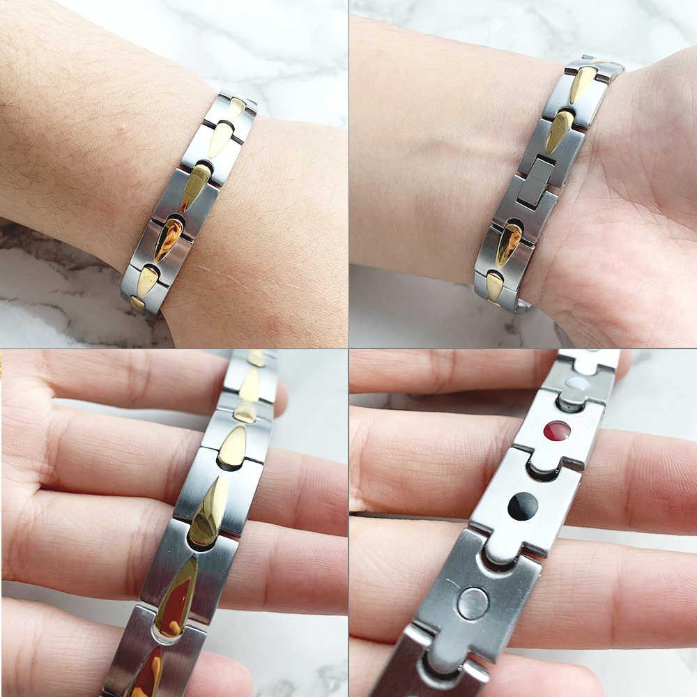 FINE4U B071 pulseras y brazaletes de salud para hombre magnético H Power 316L pulsera de acero inoxidable para hombre