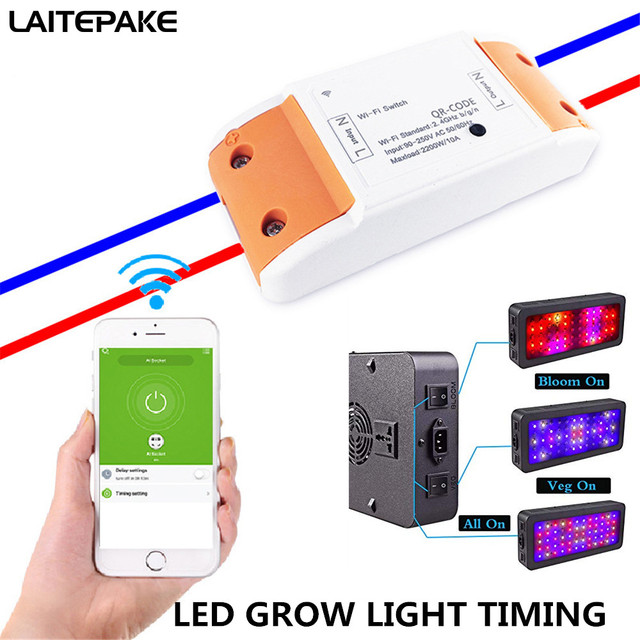 Led Grow Light Timing Wifi Smart Switch Wireless Remote Control Timer Relay Switches 85 265v Works With Alexa