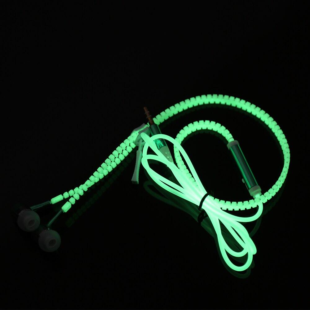 Newest Glow Earphone Luminous Light Metal Zipper <font><b>Headphone</b></font> Glow In The Dark For MP3 Iphone Samsung With Mic