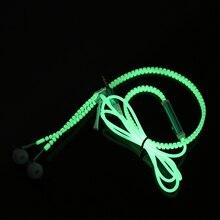 Newest Glow Earphone Luminous Light Metal Zipper Headphone Glow In