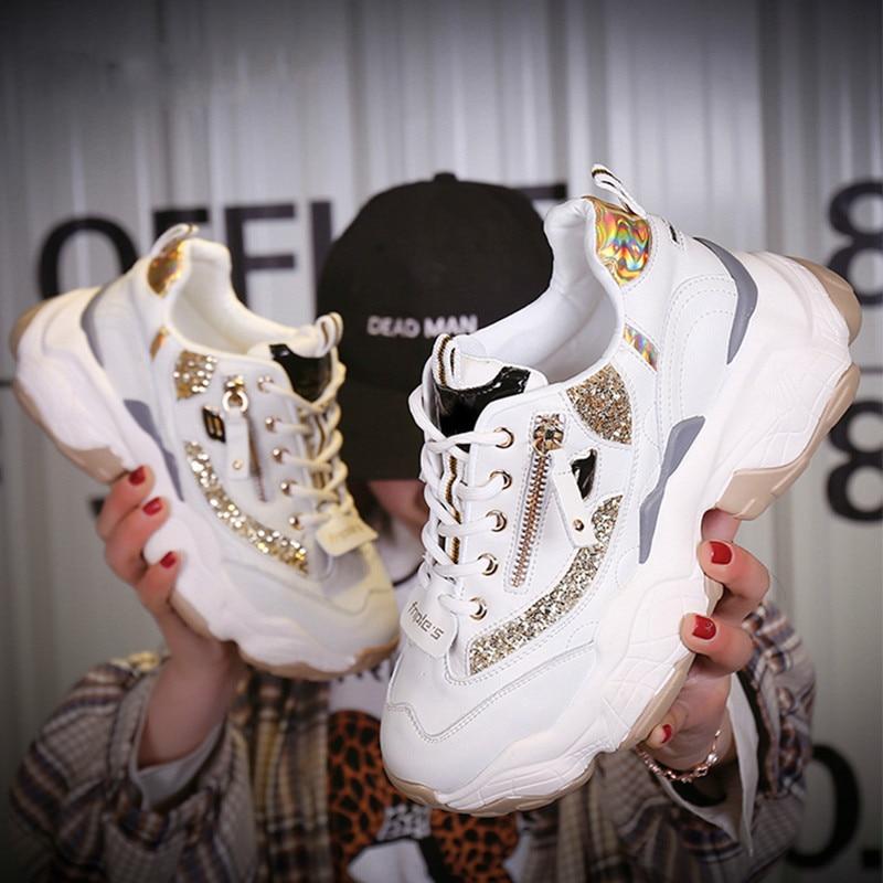 Дизайнерские блестящие массивные кроссовки на платформе 2019 повседневная обувь для папы белые дамские Кроссовки Женская обувь кроссовки basket chaussure femme