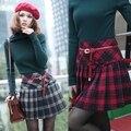 2015 nova moda estilo Popular Red Casual saias curtas das mulheres de escócia saia Tartan Kilt