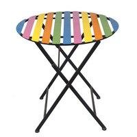 Простые радужные садовые наборы Полосатый стол Досуг складной обеденный стол наружный ремесла