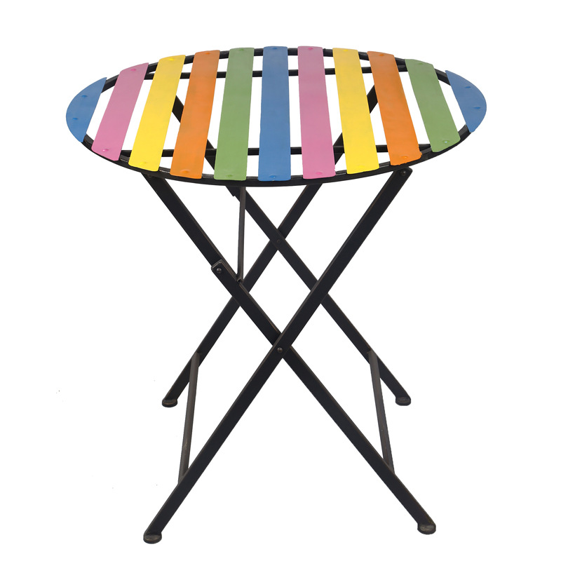 Simple Rainbow Garden Sets Striped Table Leisure Folding Outdoor Dining Table Crafts rainbow striped dress