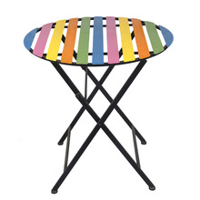 Simple Rainbow Garden Sets Striped Table Leisure Folding Outdoor Dining Table Crafts
