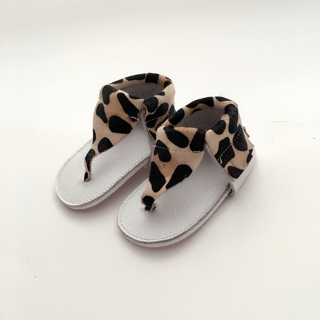 Handmade Leopard&White Baby First Walkers Genuine Leather Infant Shoe