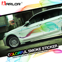 Universal Car Colorful Smoke Whole Body Door Side Sticker Decals Decor Car Styling For BMW Mercedes Audi Volkswagen Ford Decals