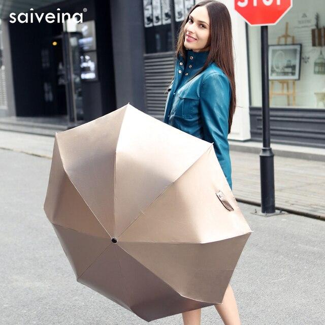 Saiveina Зонтик дождь женщины Полностью автоматический Зонт Анти-УФ Зонтик Ultral Свет 3 Складной Зонт Для Путешествий Метеор душ