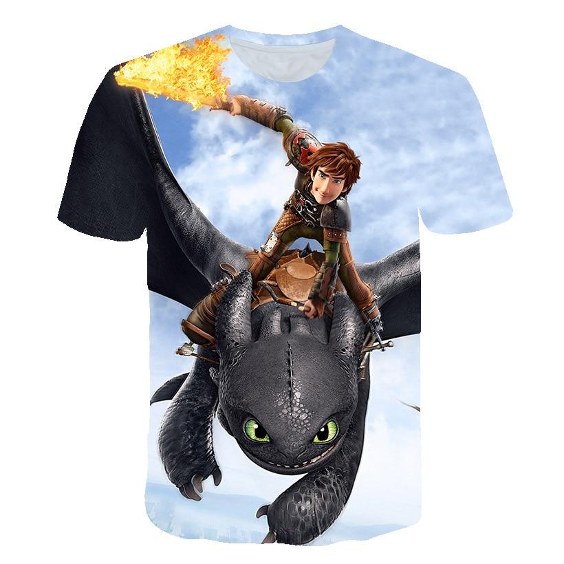 2019 Summer Boys T Shirt How To Train Your Dragon 3 Kids Tshirt 3D Print Tshirt For Girls Cartoon Tops Tees Children Clothes
