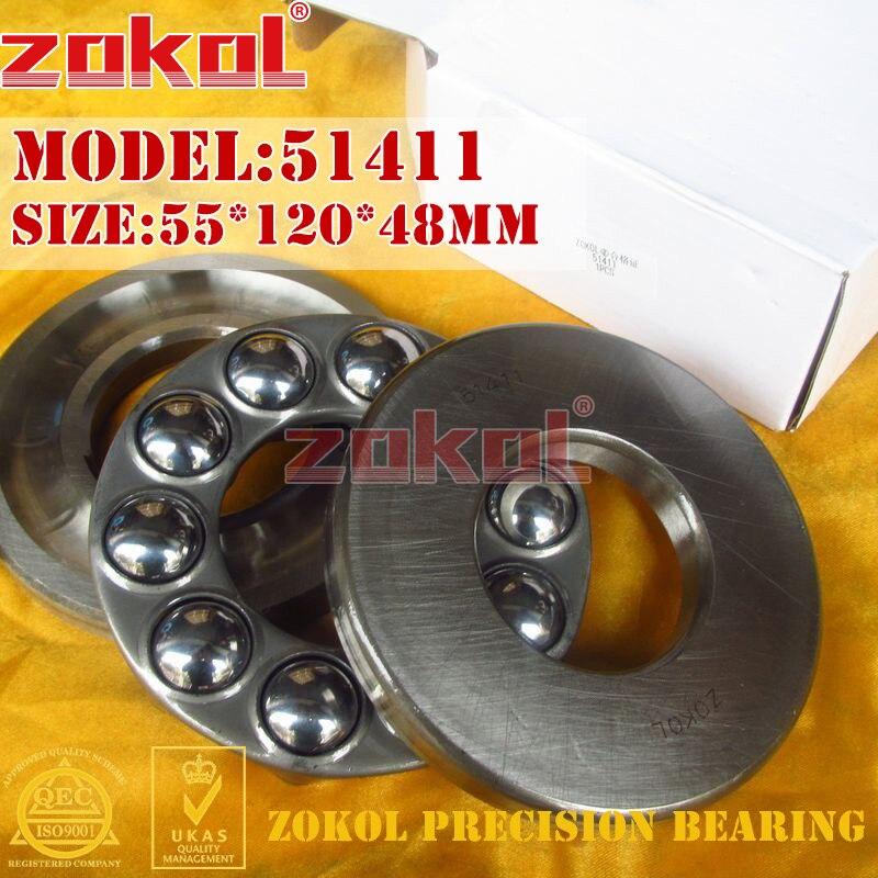 ZOKOL bearing 51411 Thrust Ball Bearing  8411 55*120*48mm zokol bearing 51134m thrust ball bearing 8134h 170 215 34mm