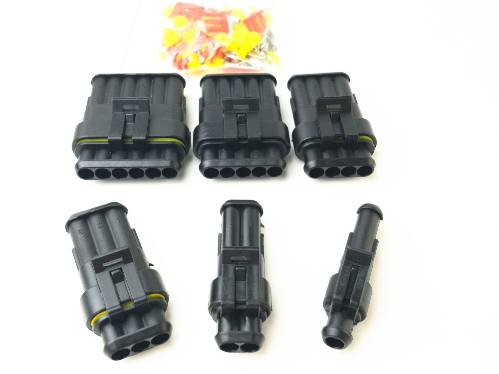 1 sets Kit 1P 2P 3P 4P 5P Way Waterproof Electrical Wire automotive Connector Plug for