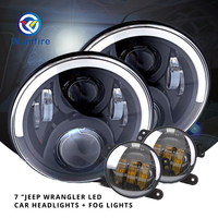 2PCS 7 Car Headlights Round LED DOT Universal Headlamp Led Car Headlight With 2PCS Fog Lights