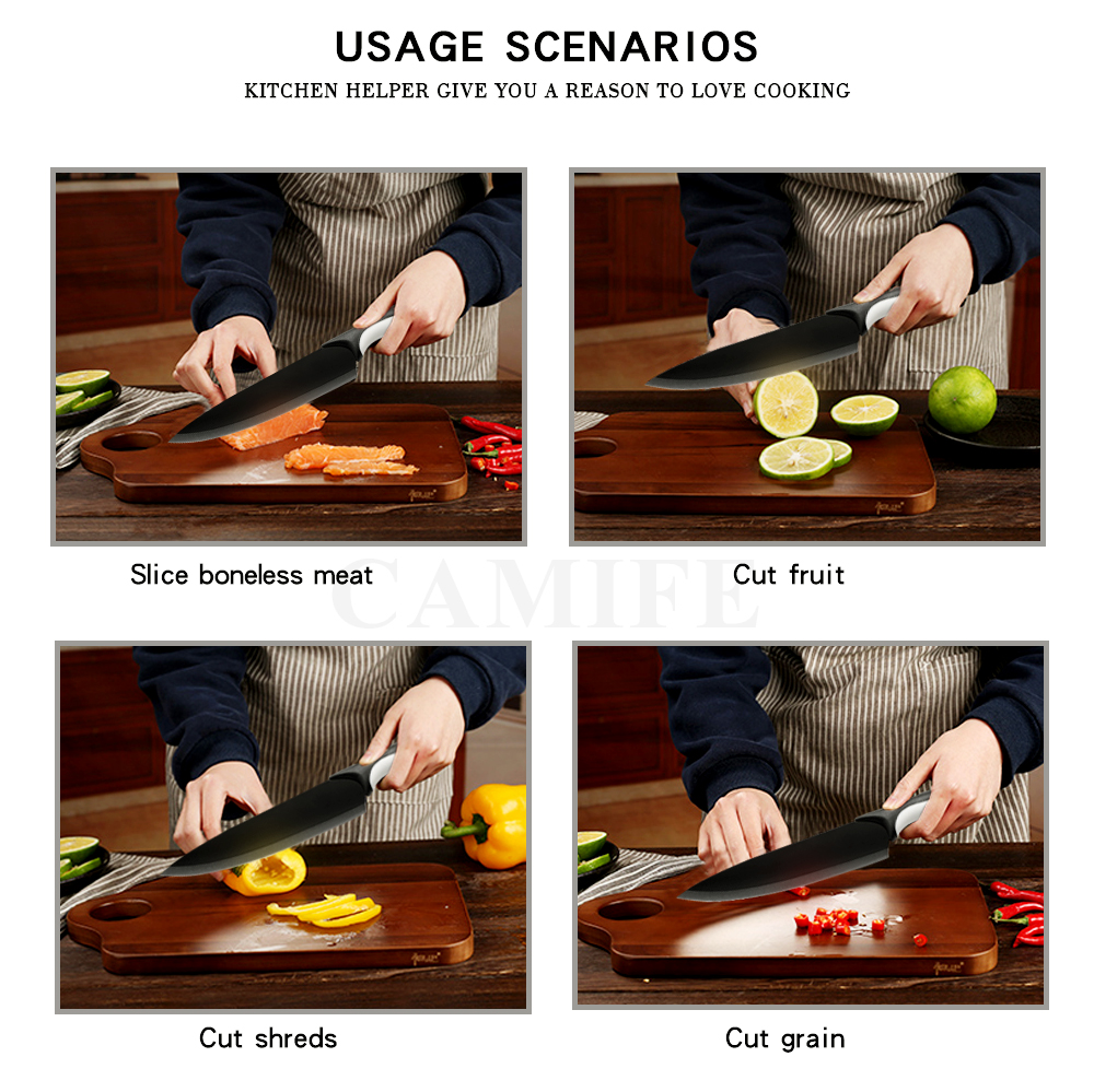 AINZUO Kitchen Knives Holder Stainless Steel Knife Sharpener Black Fruit Utility Santoku Chef Slicing Bread Cooking Knife Stand in Kitchen Knives from Home Garden