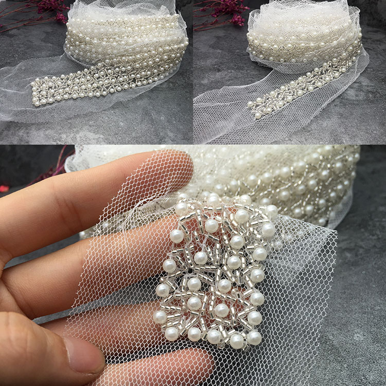 White Peal Beaded Rhinestone Wedding Dress Accessories Beaded Lace Trim Fabric Applique Patches Sew On Trim For Clothing