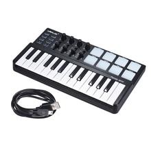 Wereldje Panda Mini 25 Key Ultra Portable Usb Midi Keyboard Controller 8 Kleurrijke Backlit Trigger Pads