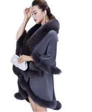 Women's poncho are trimmed with 4 to 6 inches Genuine Fox fur of Stretch fabric Coat Poncho/shawl Gray