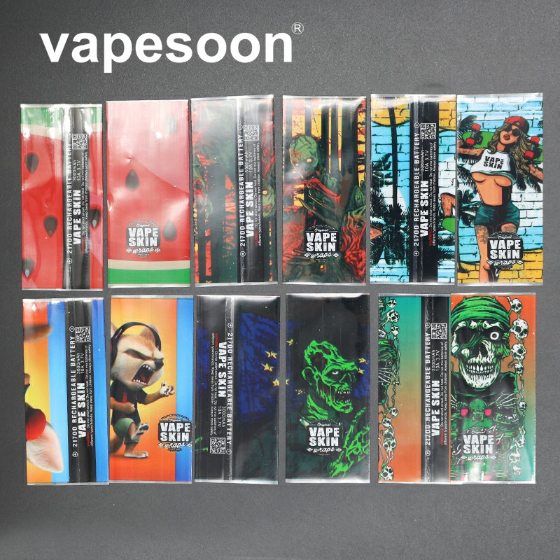6pcs New Style Protector Skin 20700/21700 Battery Protected Wrapper Battery Wrap Skin Sticker For E Cigarette Battery