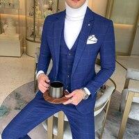 3 Pieces Suits Jackets+Pants+Vest Wedding Dress Suits For Men Blue Plaid Formal wear Suits New Men Slim Groom Suits Size XS 5XL