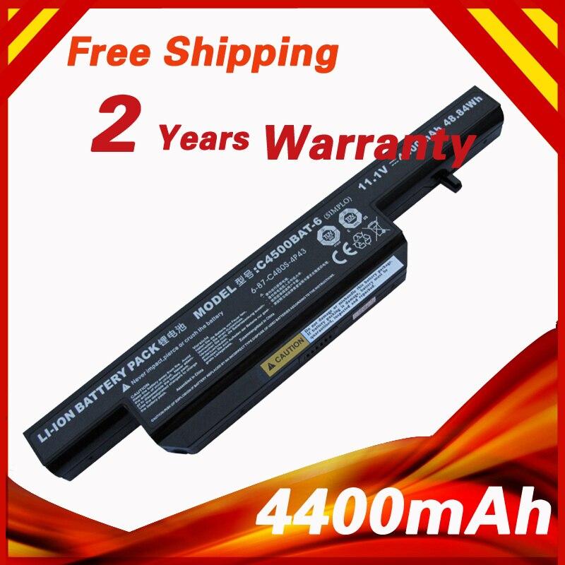 4400 mah batterie pour Clevo C4500BAT-6 C4500BAT 6 C4500BAT6 B4100M B4105 B5100M B5130M B7110 C4500 C4500Q C5100Q C5105 C5500Q W150