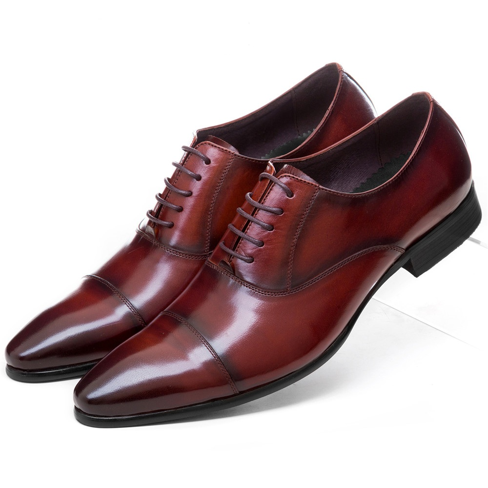 Fashion Brown tan / black pointed toe oxfords business shoes mens dress shoes genuine le ...